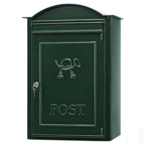 Postkasse B20, væghængt. Engelsk postkasse. klassisk mørkegrøn