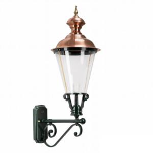 Væglampe Baarn. Klassisk lampe med kobbertop. Klassisk mørkegrøn