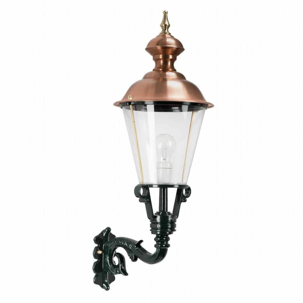 Væglampe Monnickendam. Klassiske lamper med kobbertop og rigtig glas. Kvalitetslamper med stil