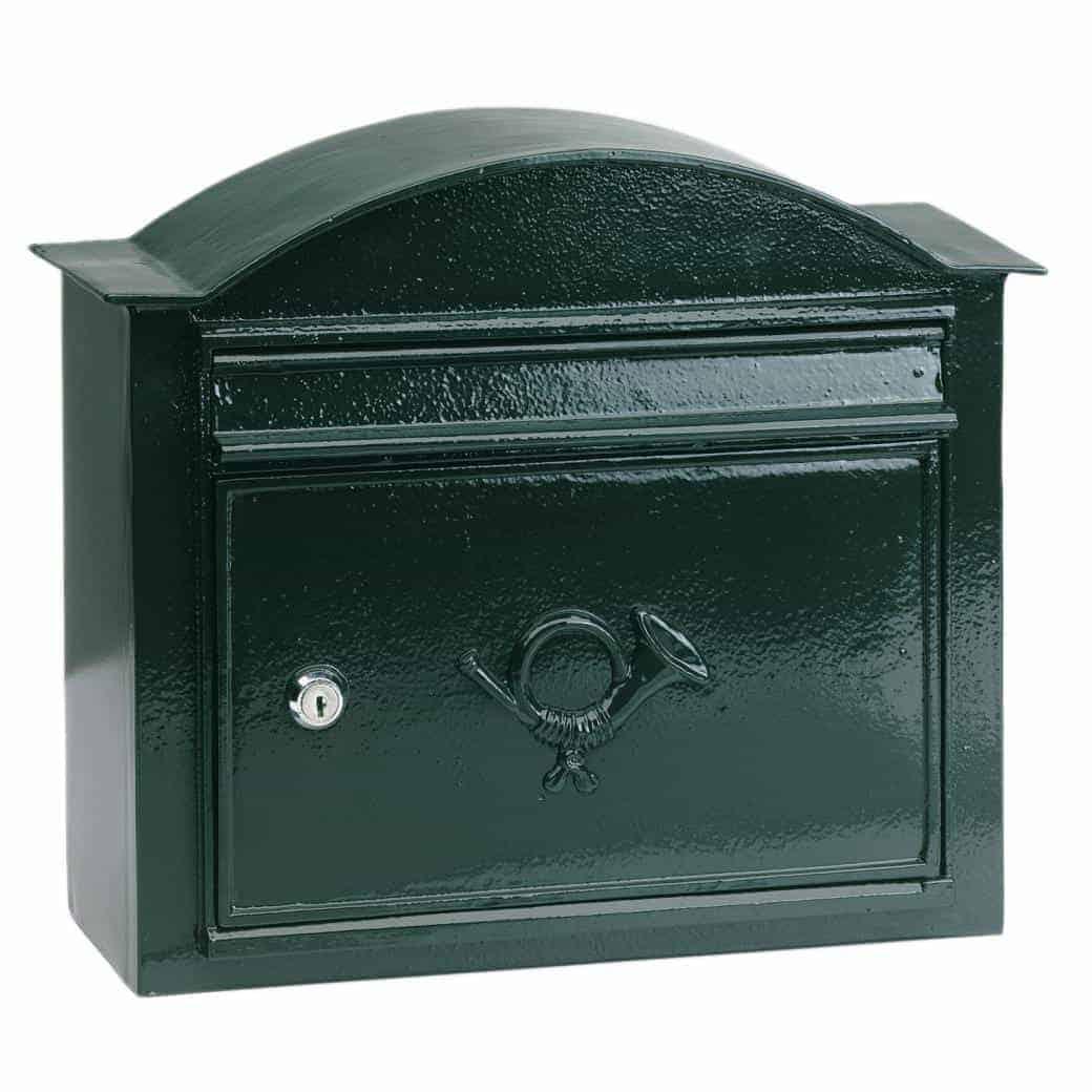 Postkasse B13, væghængt. Engelsk stil. Klassisk mørkegrøn